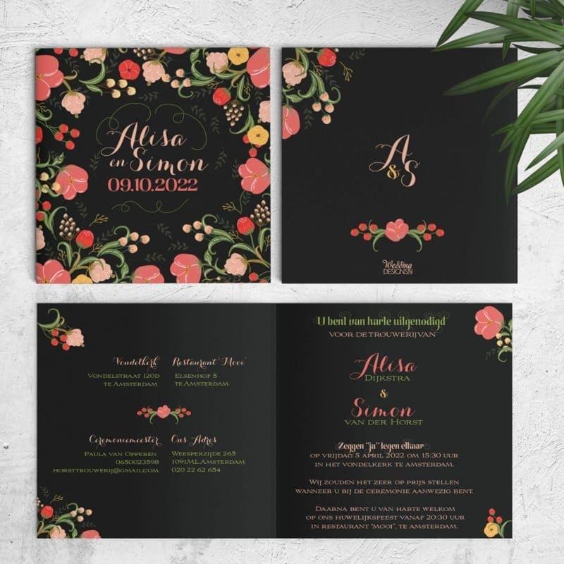 Trouwkaart Bloemen telt een veelvoud aan mooie, gedetailleerde, kleurrijke bloemen. De zwarte achtergrond is origineel en verrassend en zorgt voor contrast. Hier zie je de gehele uitnodiging.