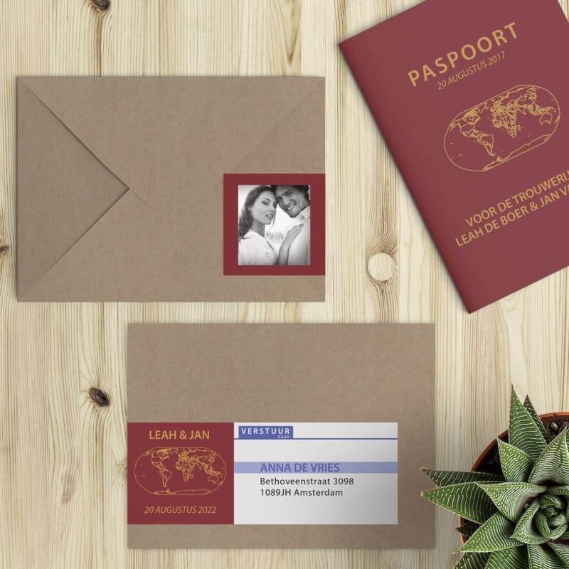 Trouwkaart Paspoort Nederland met bijpassende adressticker voor op de envelop