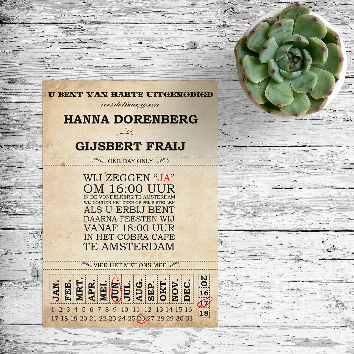 Trouwkaart Ticket is geïnspireerd door ouderwetse tickets en heeft bijvoorbeeld een authentieke vintage kalender.