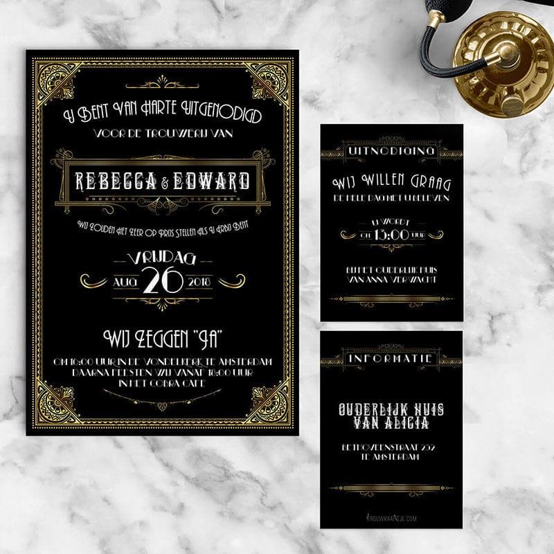 Inlegvel voor bij trouwkaart Great Gatsby - helemaal in zelfde ontwerpstijl