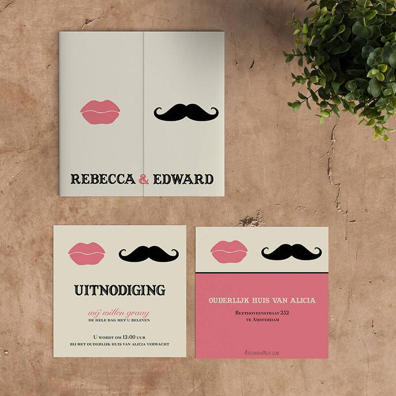 Mooi bijpassend inlegvel in zelfde stijl als trouwkaart Snor & Lippen.