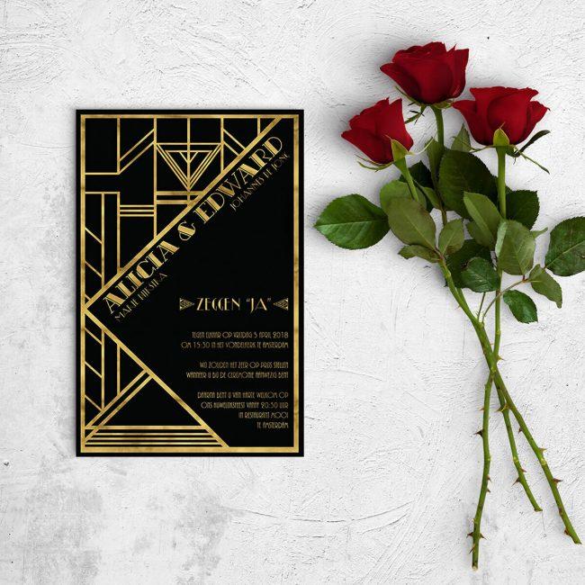 Deze trouwkaart Jaren Twintig is een nieuwe interpretatie van het Great Gatsby concept, want dit concept