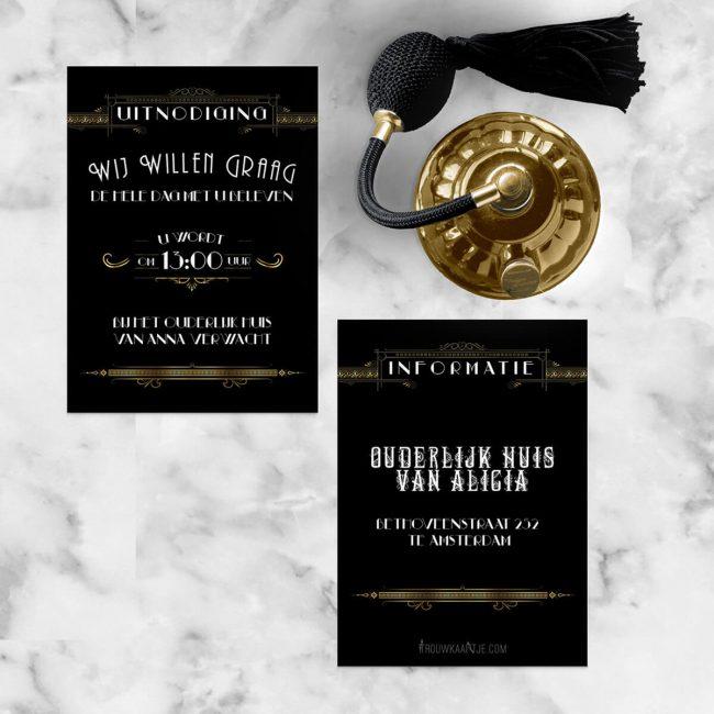 Inlegvel Great Gatsby is een gedetailleerd vormgegeven extra kaartje, volledig in de stijl van de trouwkaart.