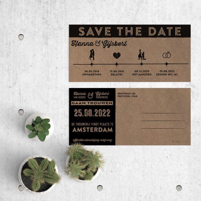 Save the date kaart Ticket met trendy tijdslijn, ingevuld met retro icoontjes. Het geheel wordt gedrukt op natuurlijk kraftpapier voor mooi vintage effect. Afbeelding toont voor- en achterkant van het kaartje.