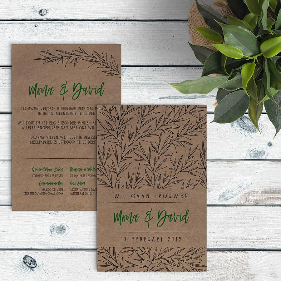 Trendy trouwkaart met trendy takjes, gedrukt op kraftpapier.