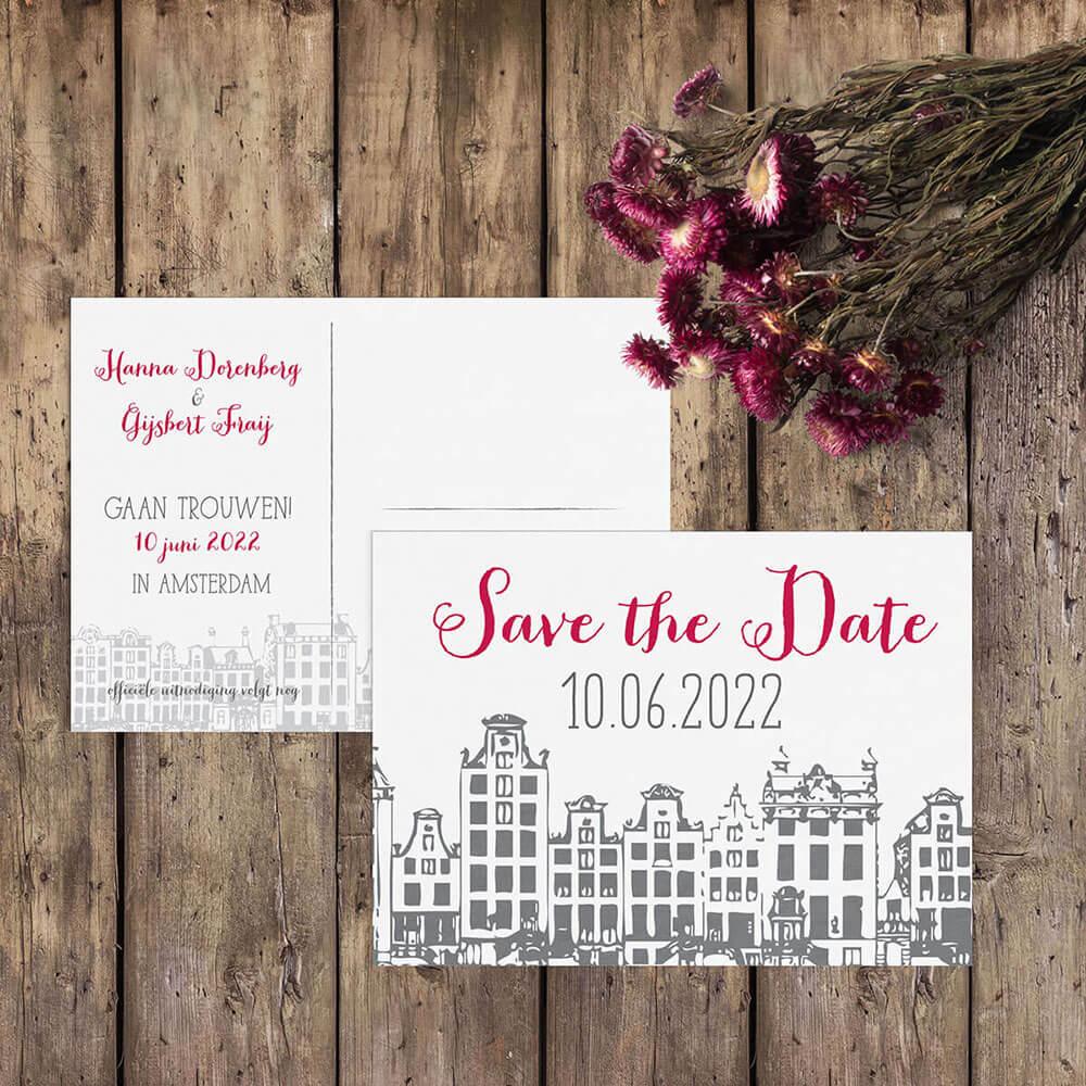 Trouwkaart Amsterdam nu ook als save the date kaartje met zelfde huisjes