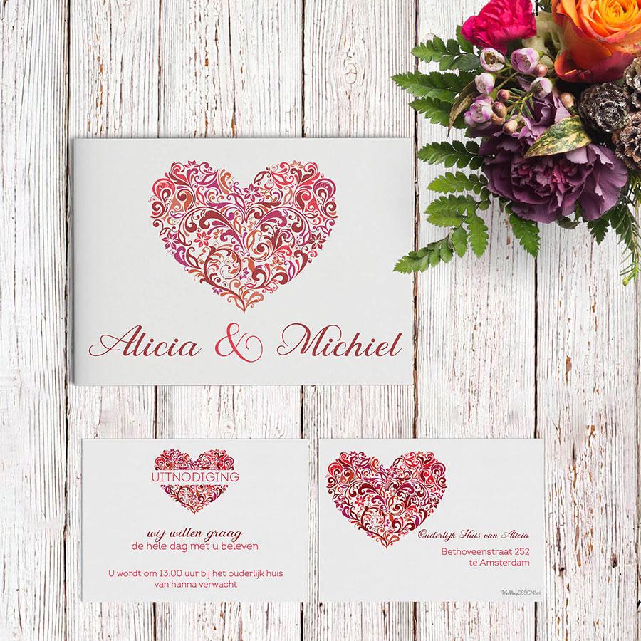 Trouwkaart Hart met een bijpassende inlegvel - klein kaartje voor extra informatie bij de huwelijksuitnodiging