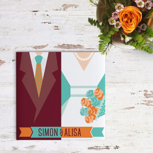 De typische retro kleuren uit de jaren zestig domineren trouwkaart Retro Hipster Bruidspaar; de styling van het bruidspaar versterkt de retro factor.