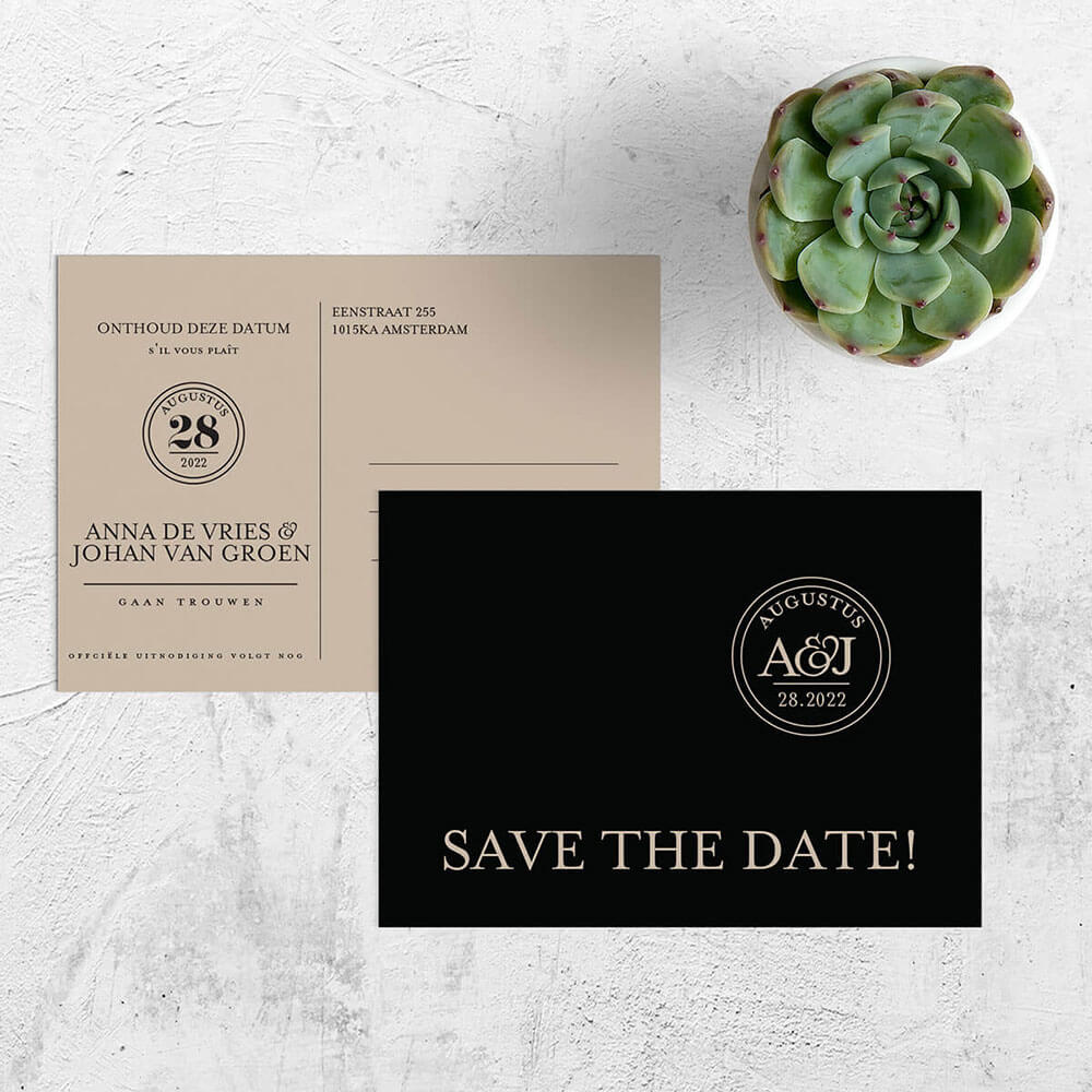 Trouwkaart Sjiek nu als luxe save the date kaart