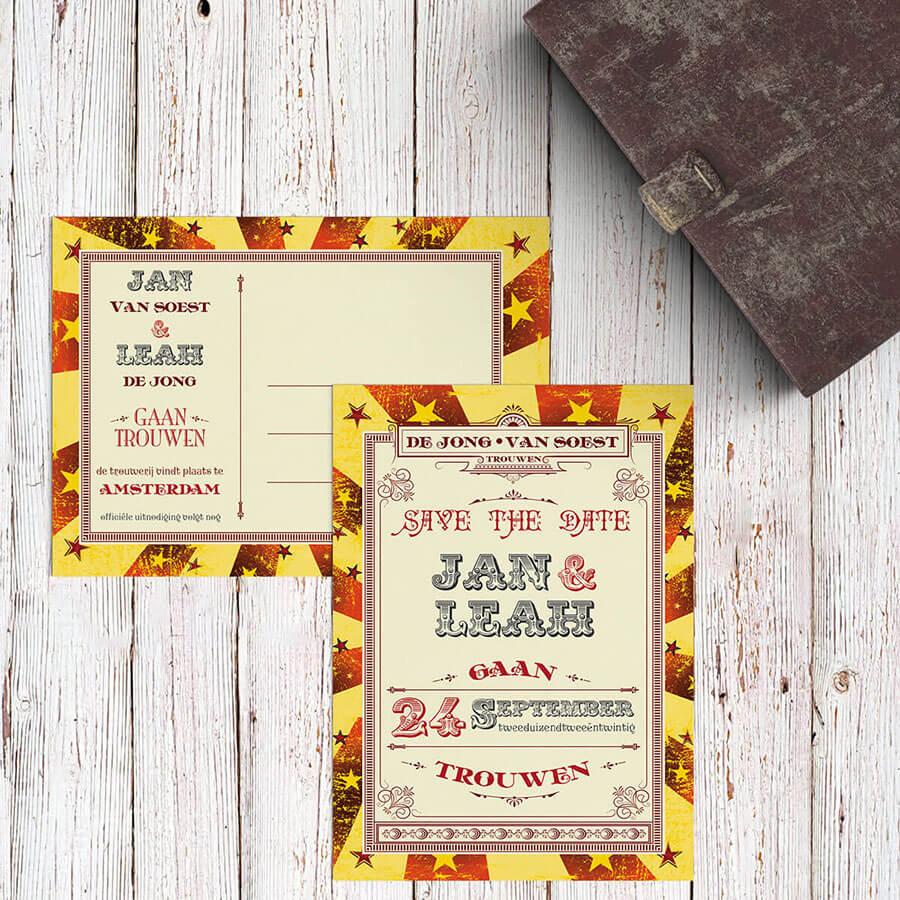 Trouwkaart Circus Ticket nu vormgegeven als save the date kaartje