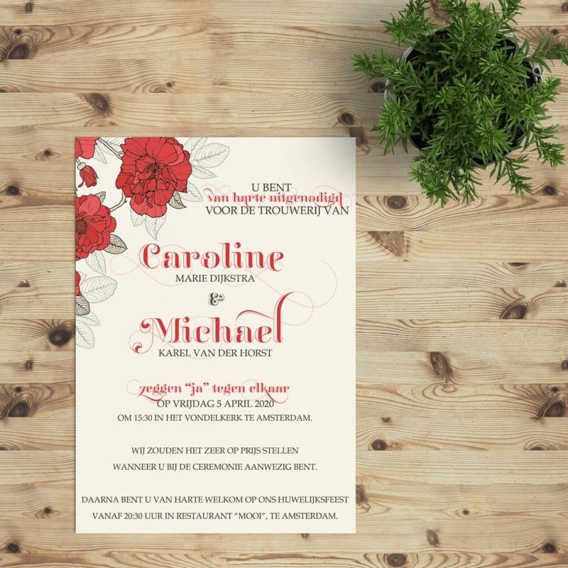 Trouwkaart Rode Bloemen is een klassiek ontwerp met helderrode bloemen, getekende blaadjes, en een mooie typografische vormgeving.