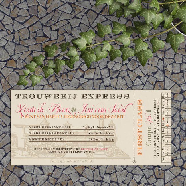 Trouwkaart Vintage Treinkaartje is een uitnodiging in de stijl van een ouderwets treinkaartje.