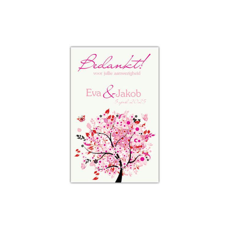 Bedankje Roze Boom van Geluk is een leuk geïllustreerd kaartje met een vrolijke boom in roze tinten, voor bij een bedankje.