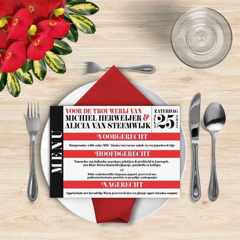 Menukaart Moderne Toegangskaart is een vrolijk en modern ontwerp met een helder rood als accentkleur, naast zwart en wit.