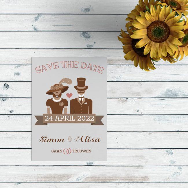 Bij save the date kaart Modern/Vintage Bruidspaar staat een super leuk en super retro bruidspaar centraal in het ontwerp. Bijpassende retro kleuren.