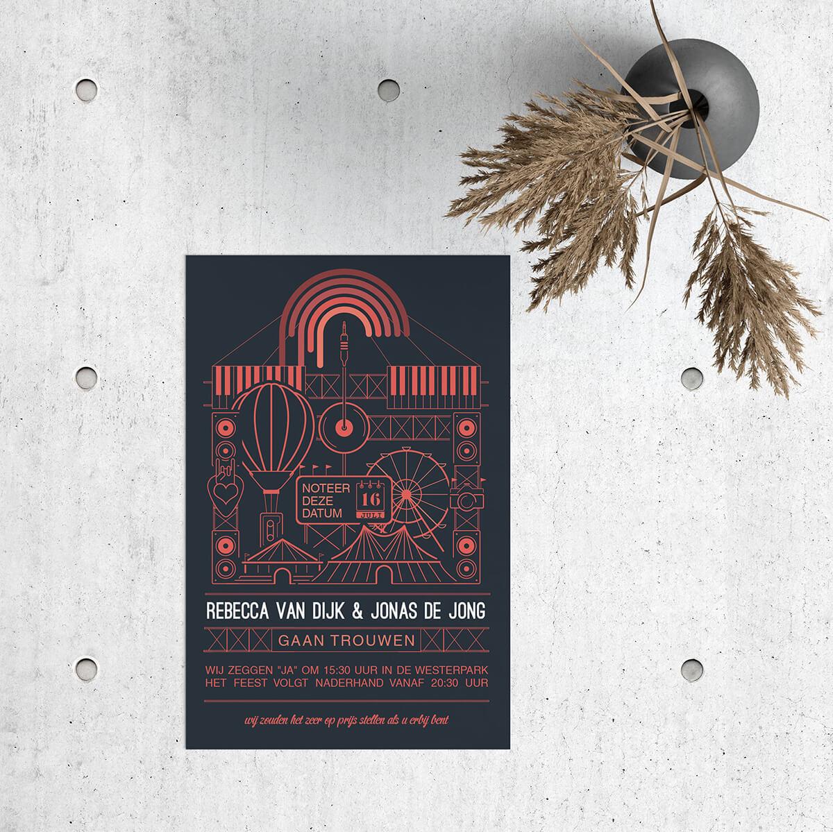 Trouwkaart Festival heeft een vrolijk thema, een feestelijke kermis-setting, en is ontworpen in een minimalistische stijl met een leuk kleurcontrast.