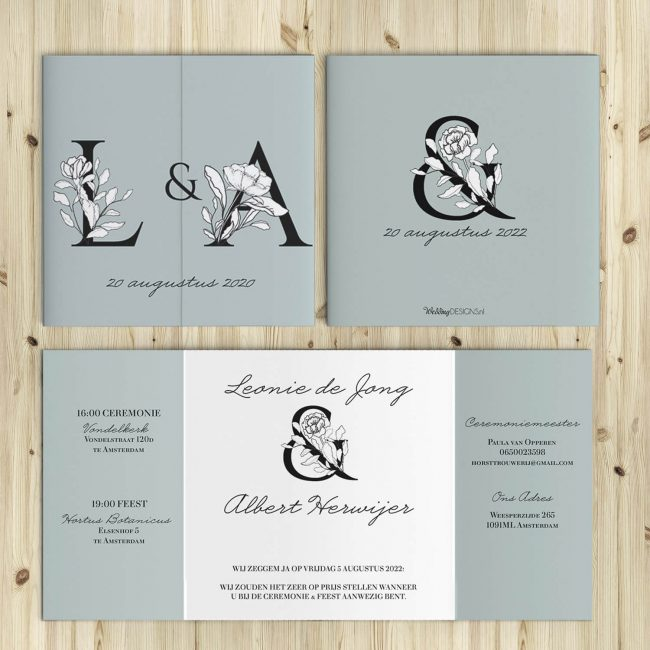 Nieuwe trouwkaarten met letter monogram, vol bloemen.