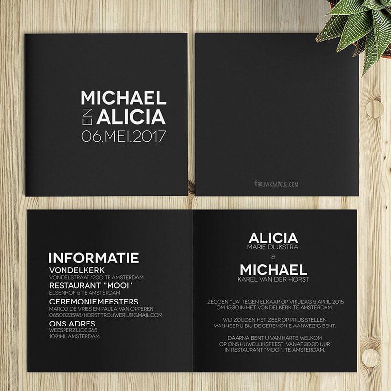 Minimalistische trouwkaarten met een abstract trouwlogo