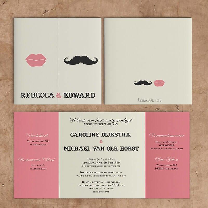 Moderne trouwkaarten met een snor en stel lippen