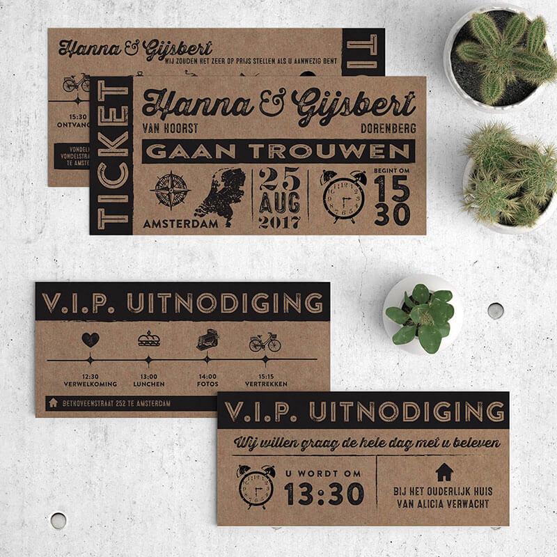 Ticket trouwkaarten - uitnodigingen met een ticket thema, gedrukt op recycled papier