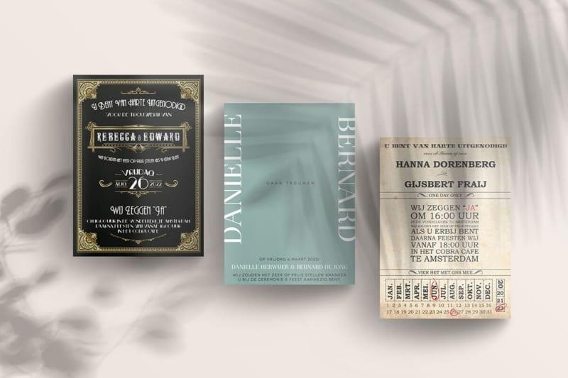 Trouwkaarten in gatsby, ticket en moderne ontwerpstijl. Trouwkaart tekst voorbeelden.