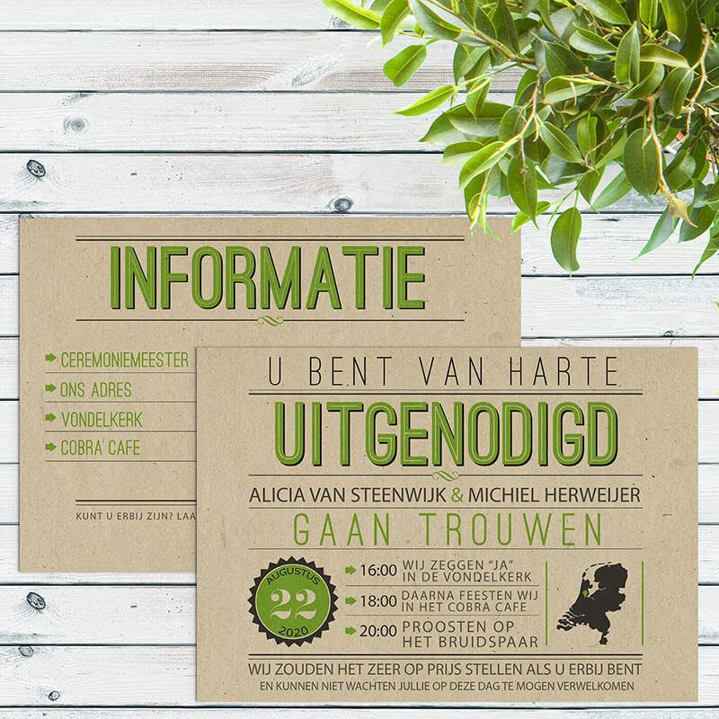 Typografische trouwkaarten op duurzaam paperwise papier.