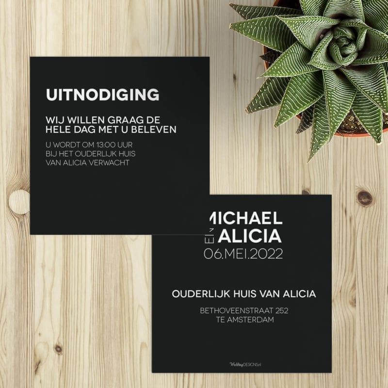 Inlegvel Abstract Zwart bestaat uit een zwarte achtergrond, met daarop witte letters in een strak, modern lettertype.