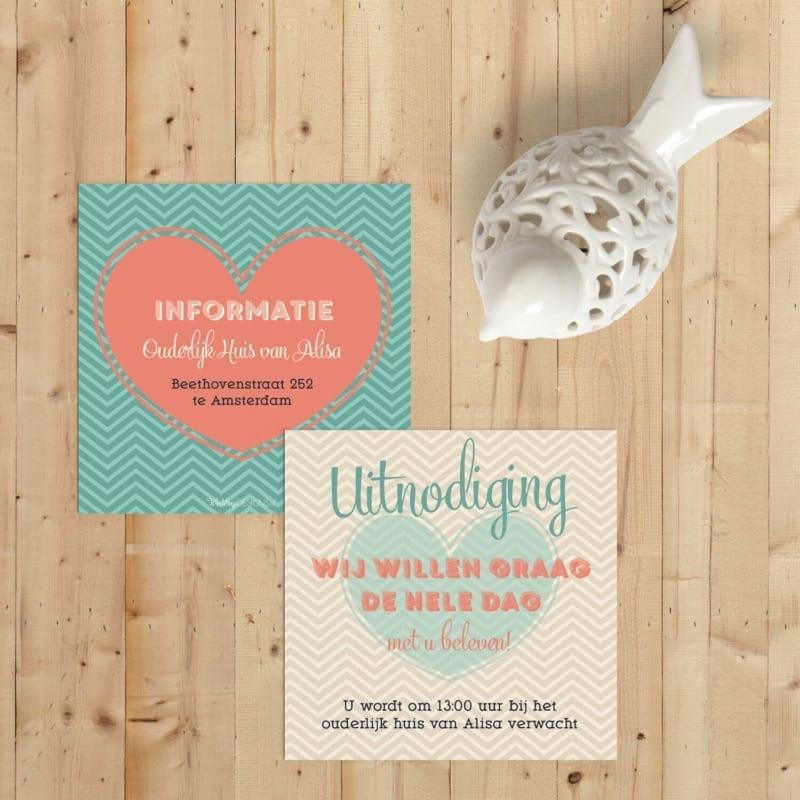 Inlegvel Love is een klein kaartje voor extra informatie; mooi hart, vrolijke kleuren en patronen.