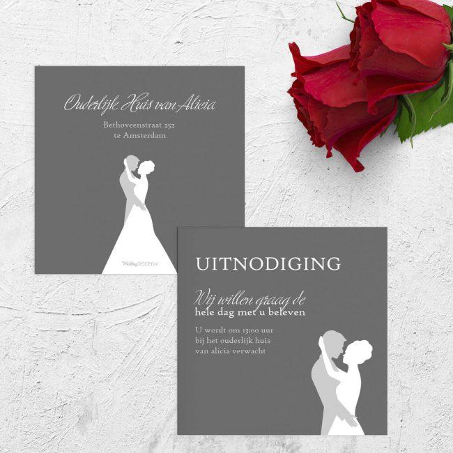 Inlegvel Deze Dans pakt een traditioneel bruiloftsthema op: de eerste dans. Abstract en minimalistische illustratie.