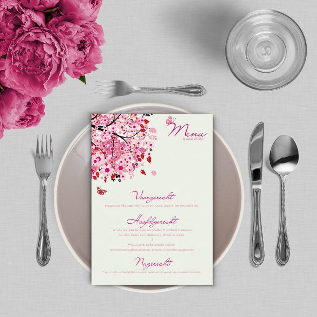 Menukaart Roze Boom van Geluk is een ontwerp met de roze 'Boom van Geluk' boom, perfect voor bij heerlijke maaltijd op jullie trouwdag