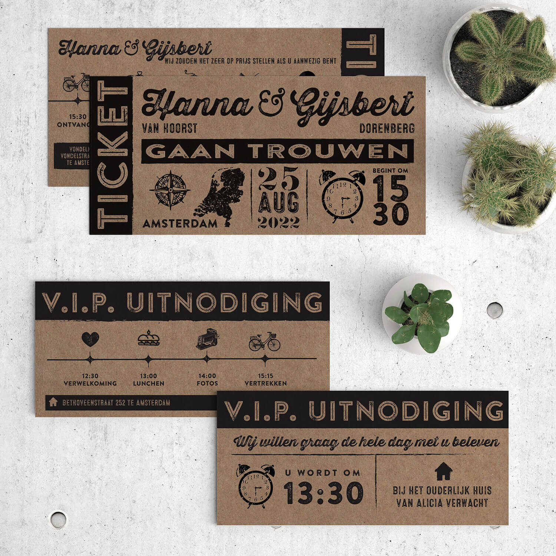 Bijpassend inlegvel ticket--VIP kaart--voor trouwkaart Ticket op kraftpapier. Speciaal voor je daggasten kun je een mooi programma met icoontjes ontwerpen. Voor- en achterkant van het inlegvel, met trouwkaart Ticket op kraftpapier