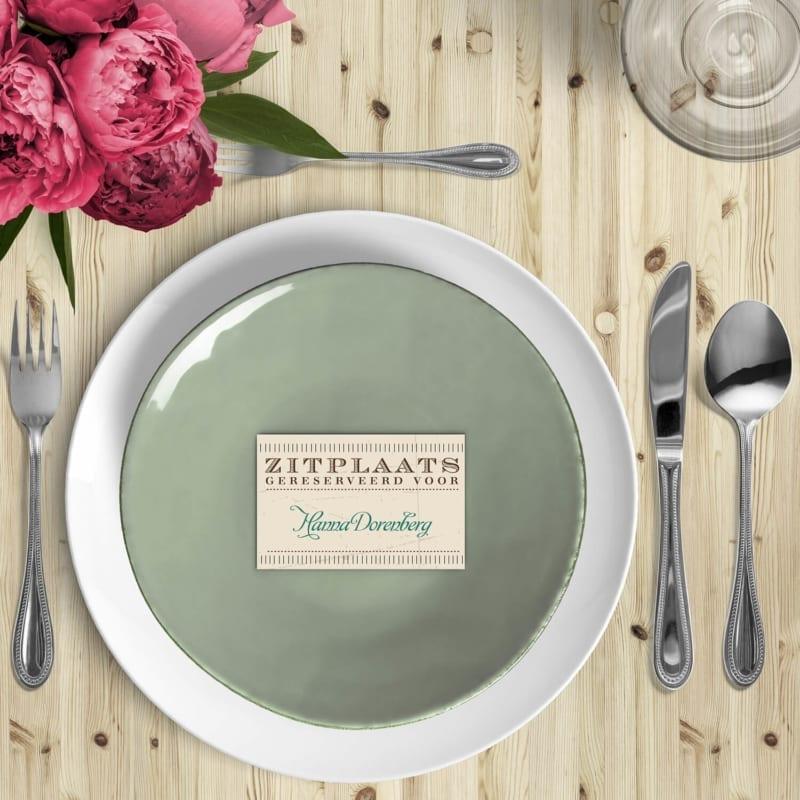 Naamkaartje Vintage Toegangsbiljet is een leuk zitplaats kaartje voor bij het diner op de trouwdag. Mooie vintage stijl.