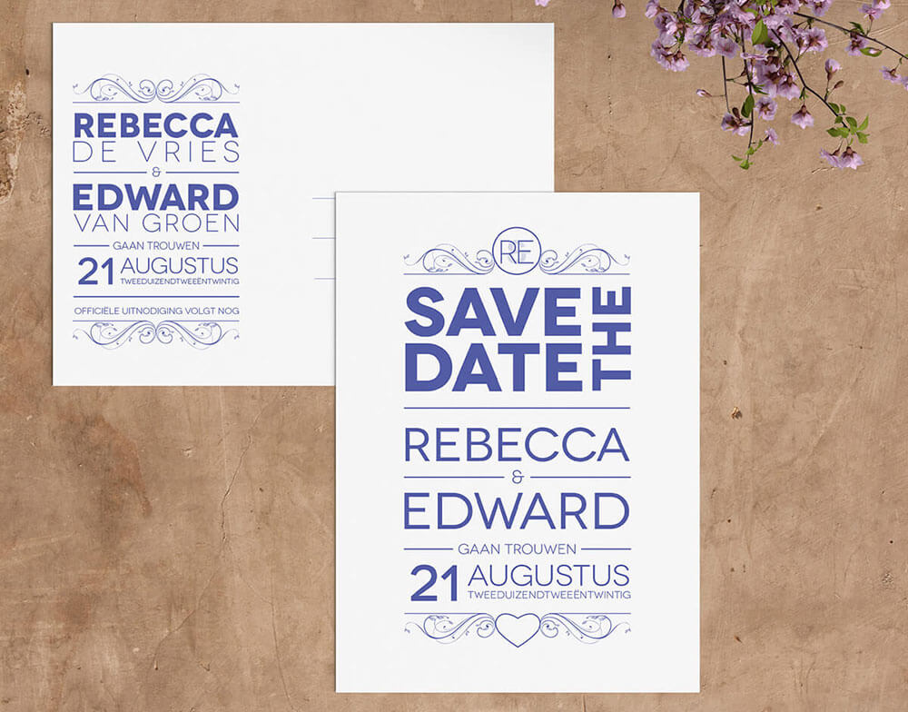Save the date tekst | Klassiek typografisch ontwerp