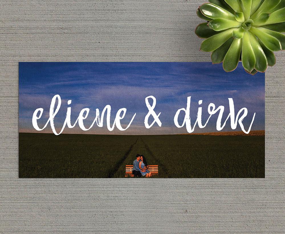 Trouwkaart Foto - typografisch ontwerp
