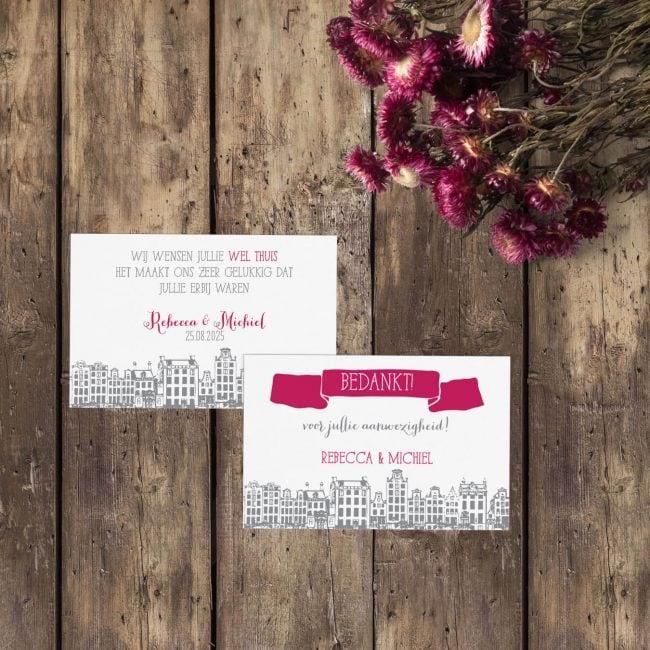 Bedankje Amsterdam is een leuk klein kaartje die je op de dag van de trouwerij kunt gebruiken om bijv. aan een bedankje te hangen.