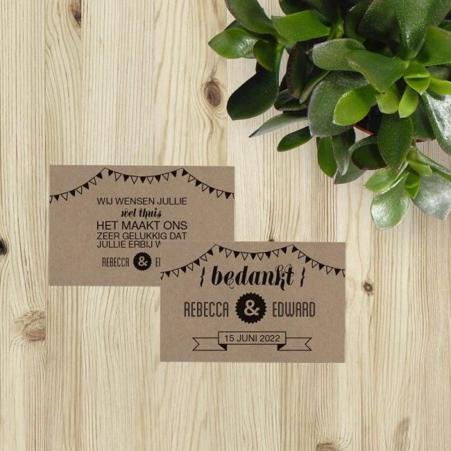 Bedankje Hipster Retro sluit perfect aan bij de trouwkaart en wordt ook op kraftpapier gedrukt. Hipster en retro tegelijk.