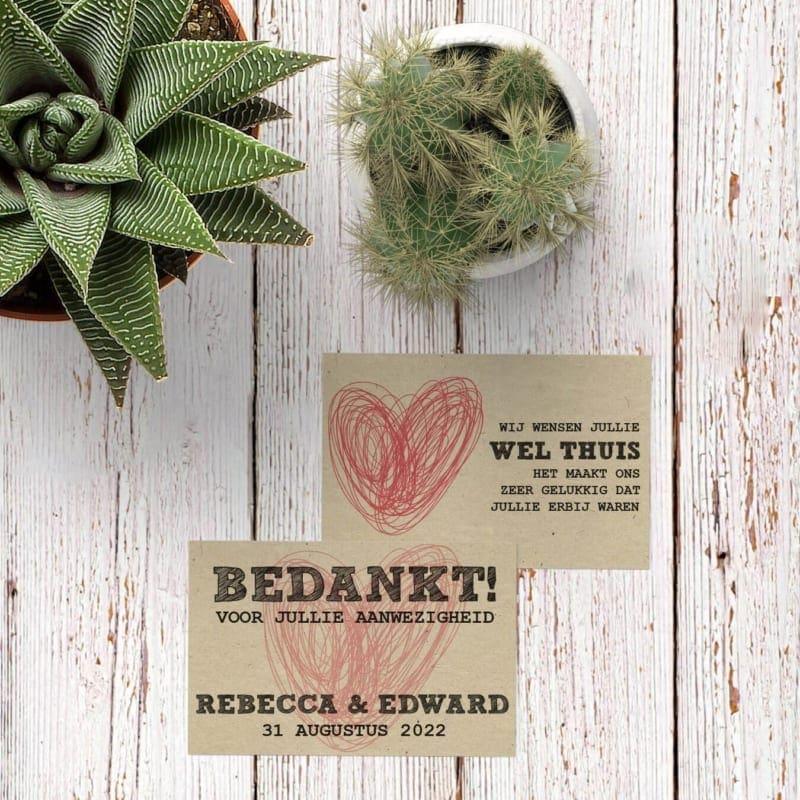 Bedankje Modern / Vintage Hart gebruikt een handgetekend hartje op een mooie achtergrond als basis. Te gebruiken bij bedankje op bruiloft.