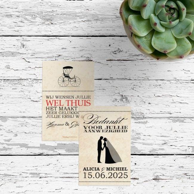 Bedankje Ticket - leuk retro ontwerp met mooie vintage achtergrond. Sluit perfect aan bij de gelijknamige trouwkaart.