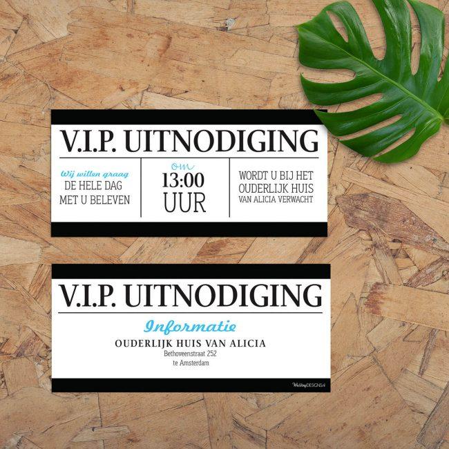 De eigentijdse toegangskaart stijl van de Entreekaart trouwkaart is hier doorgezet tot een inlegvel, dat bijvoorbeeld gebruikt kan worden als exclusief VIP kaartje.