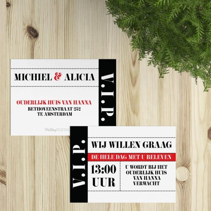 Een klein (VIP) inlegvel om bij de trouwkaart te voegen voor extra informatie of bijv. om daggasten mee uit te nodigen voor de hele dag.