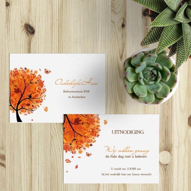 Een inlegvel in de stijl van trouwkaart Herfst, geschikt om gasten extra informatie te geven, of mensen alleen voor de dag uit te nodigen.