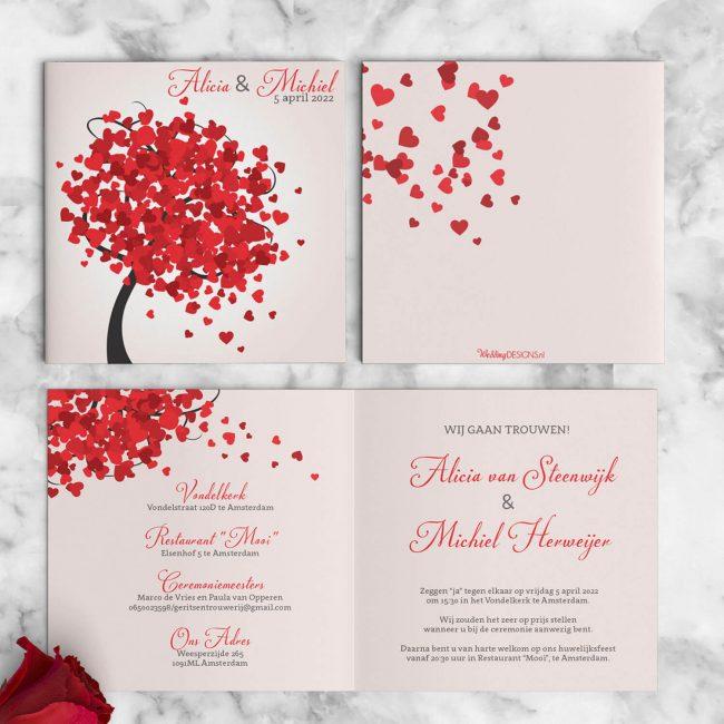 Vrolijke, romantische boom met allerlei rode hartjes als blaadjes. Trouwkaart Hartjes Boom is in moderne, romantische stijl vormgegeven. Voor, achter en binnenkant van de trouwkaart.