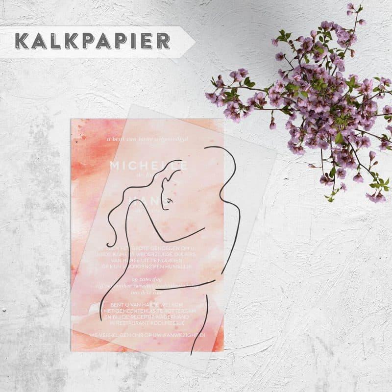 Trouwkaart Silhouet op Waterverf speelt met het doorschijnende effect van kalkpapier (Vellum) in combinatie met een geverfde achtergrond.